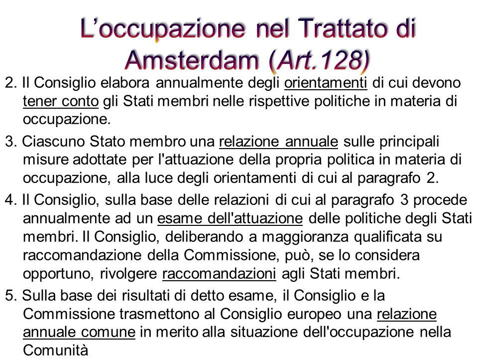 L'occupazione nel Trattato di Amsterdam (Art.128)