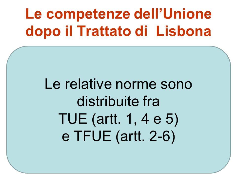 Le competenze dell'Unione dopo il Trattato di Lisbona