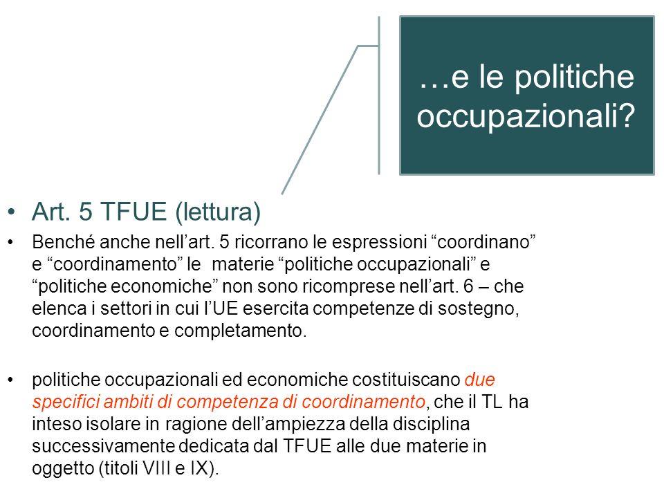 …e le politiche occupazionali