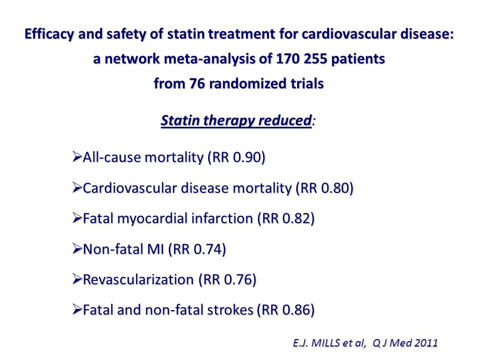 Efficacy and safety of statin treatment for cardiovascular disease:
