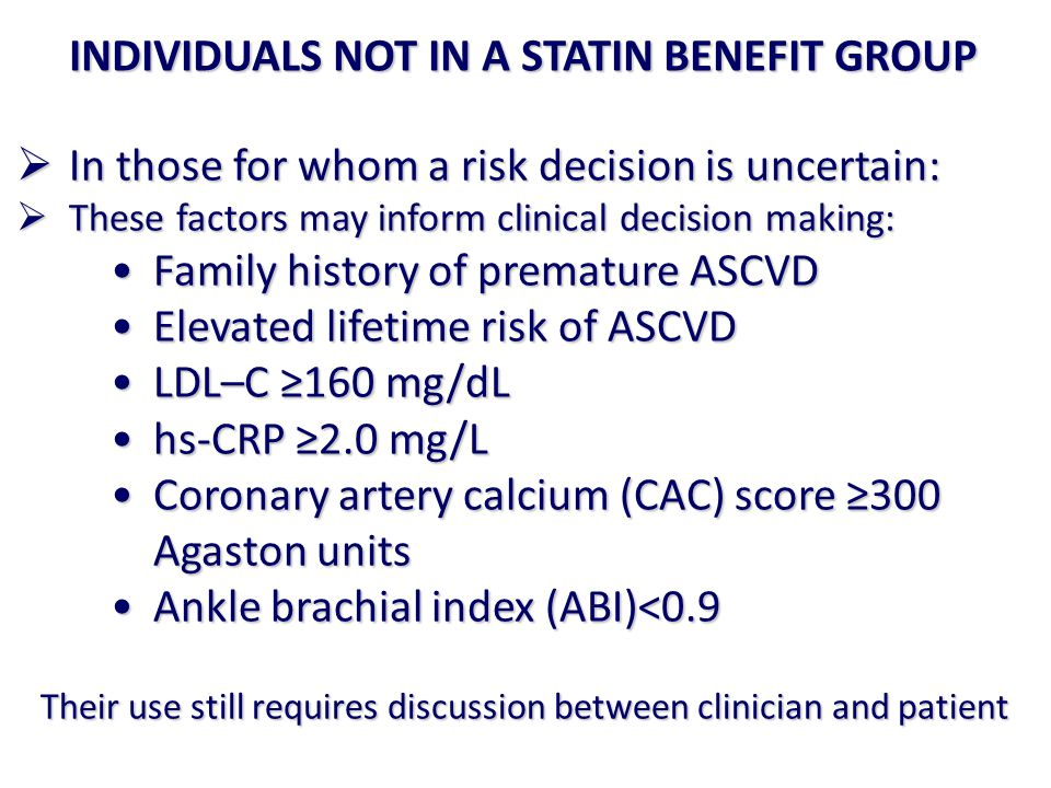 INDIVIDUALS NOT IN A STATIN BENEFIT GROUP