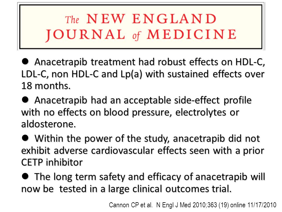 Anacetrapib treatment had robust effects on HDL-C, LDL-C, non HDL-C and Lp(a) with sustained effects over 18 months.