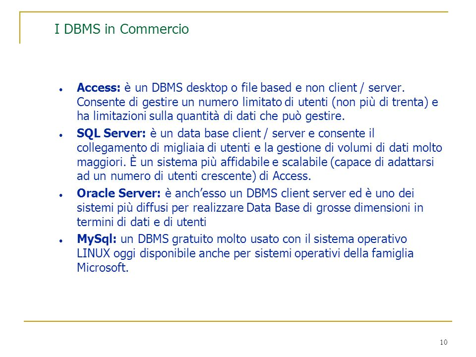 I DBMS in Commercio