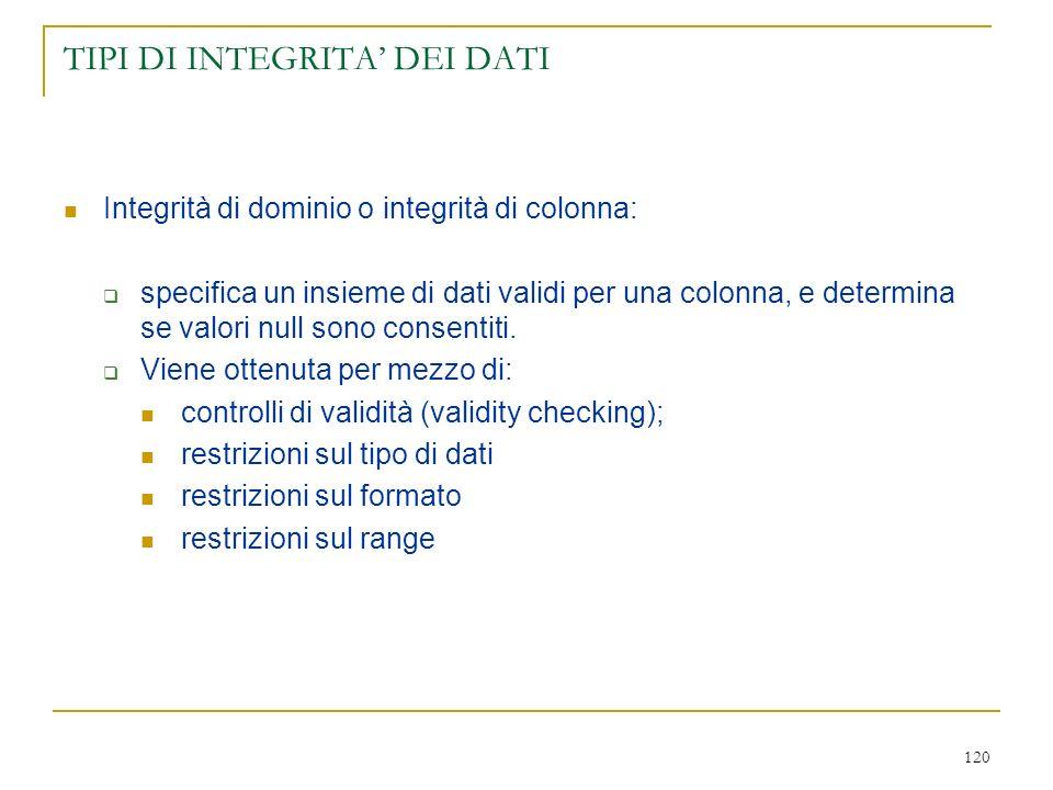 TIPI DI INTEGRITA' DEI DATI
