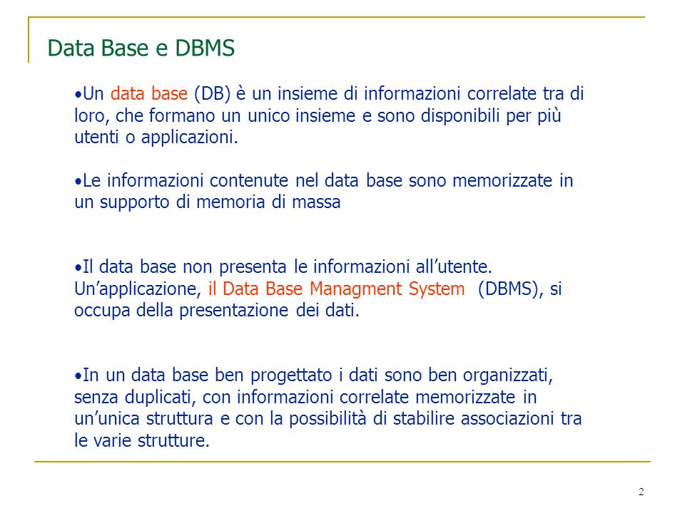 Data Base e DBMS