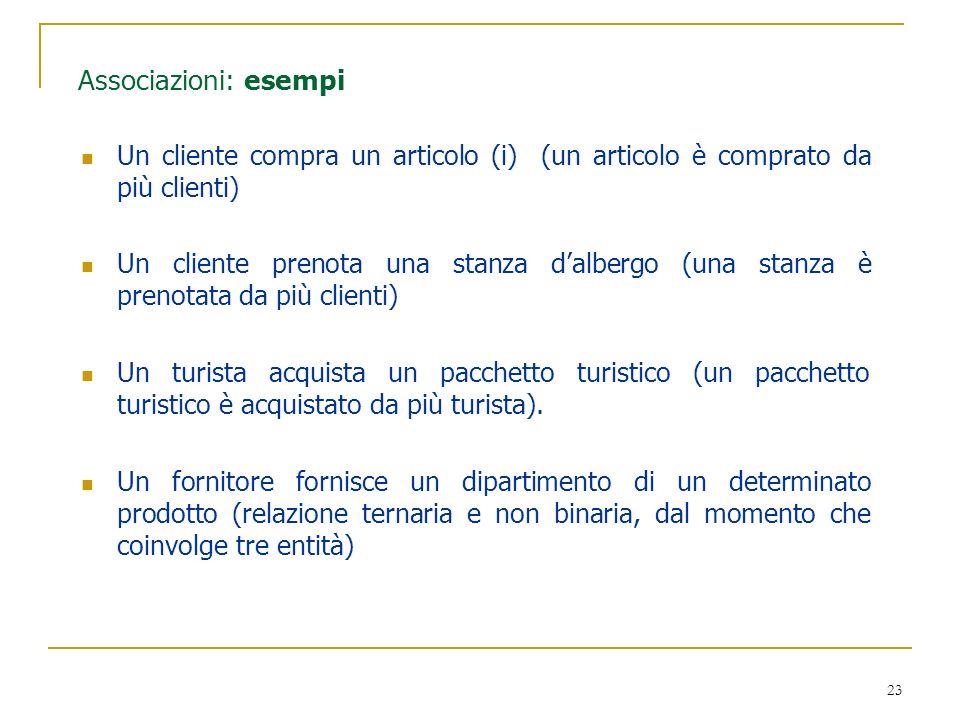 Associazioni: esempi Un cliente compra un articolo (i) (un articolo è comprato da più clienti)