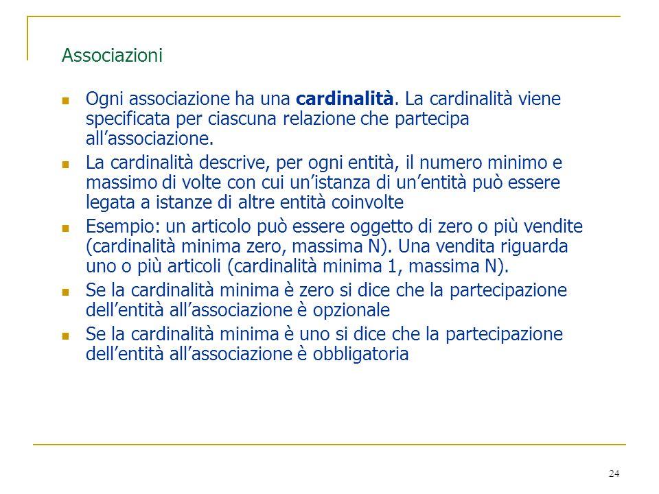 Associazioni Ogni associazione ha una cardinalità. La cardinalità viene specificata per ciascuna relazione che partecipa all'associazione.