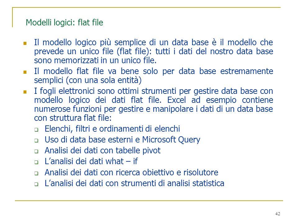 Modelli logici: flat file