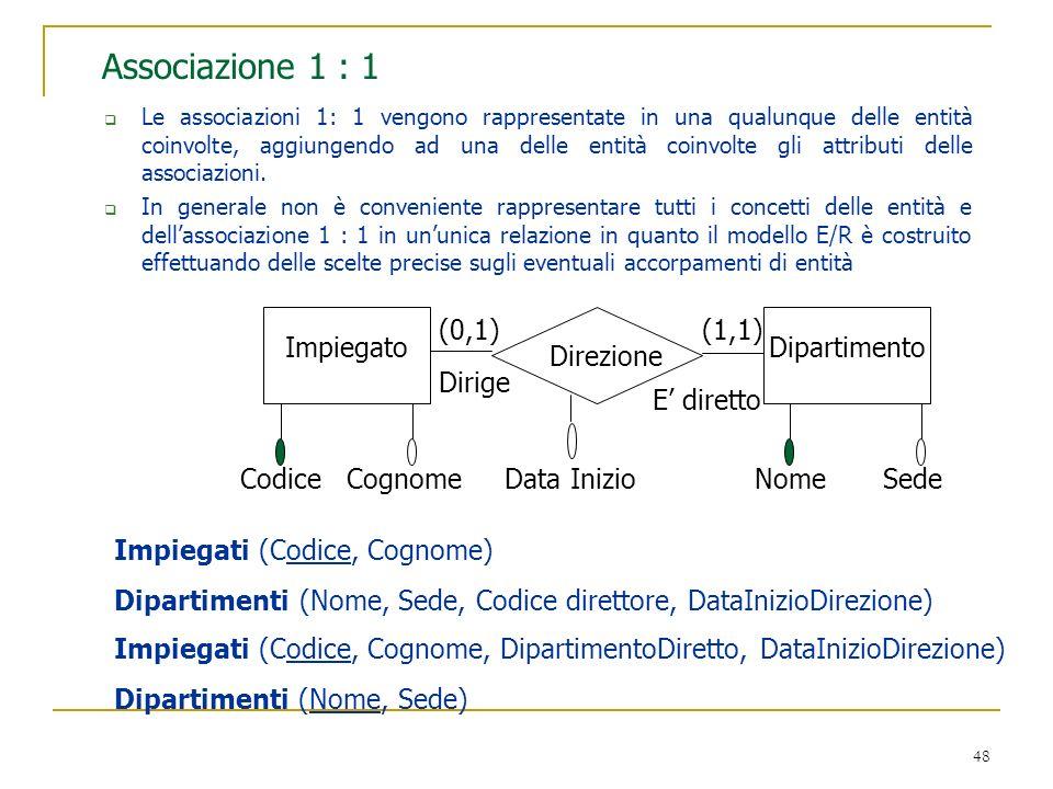 Associazione 1 : 1 Impiegato Dipartimento Dirige E' diretto Codice