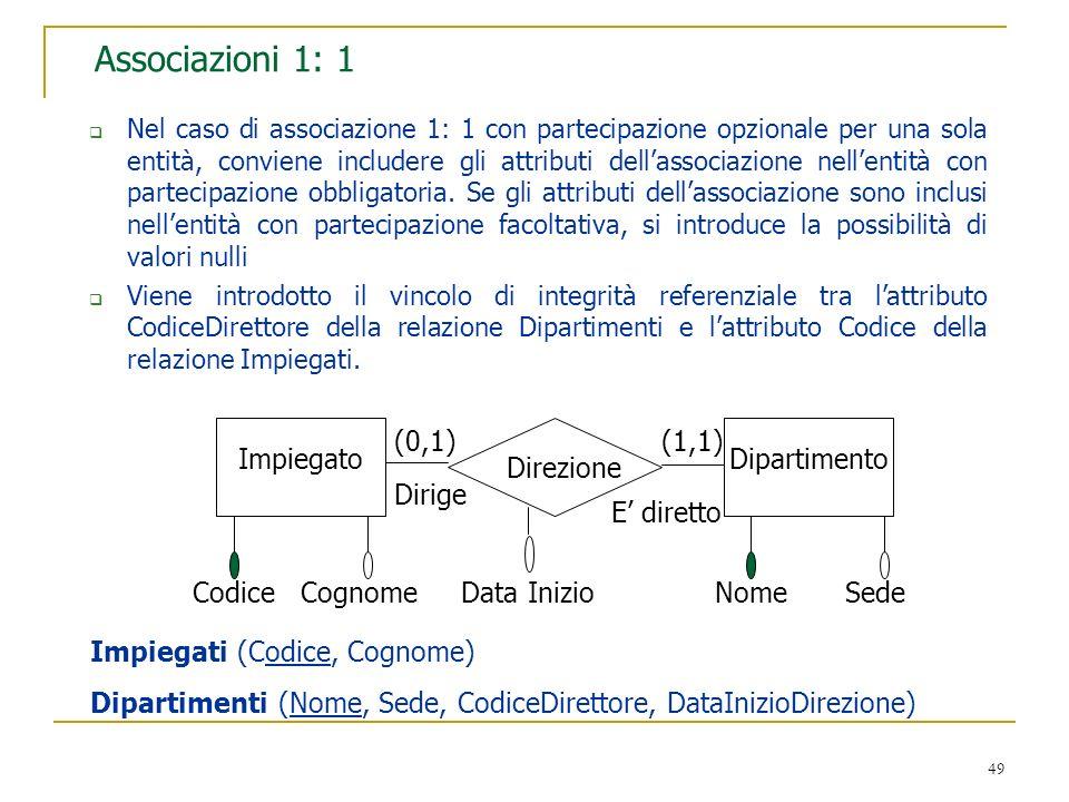Associazioni 1: 1 (0,1) (1,1) Impiegato Dipartimento Direzione Dirige