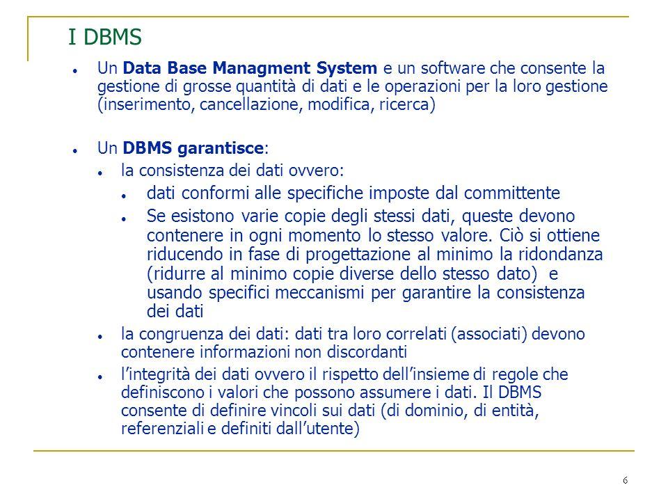 I DBMS dati conformi alle specifiche imposte dal committente