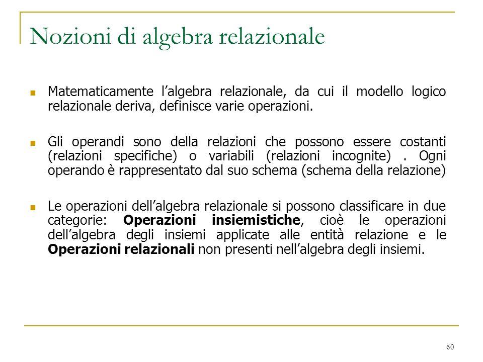 Nozioni di algebra relazionale