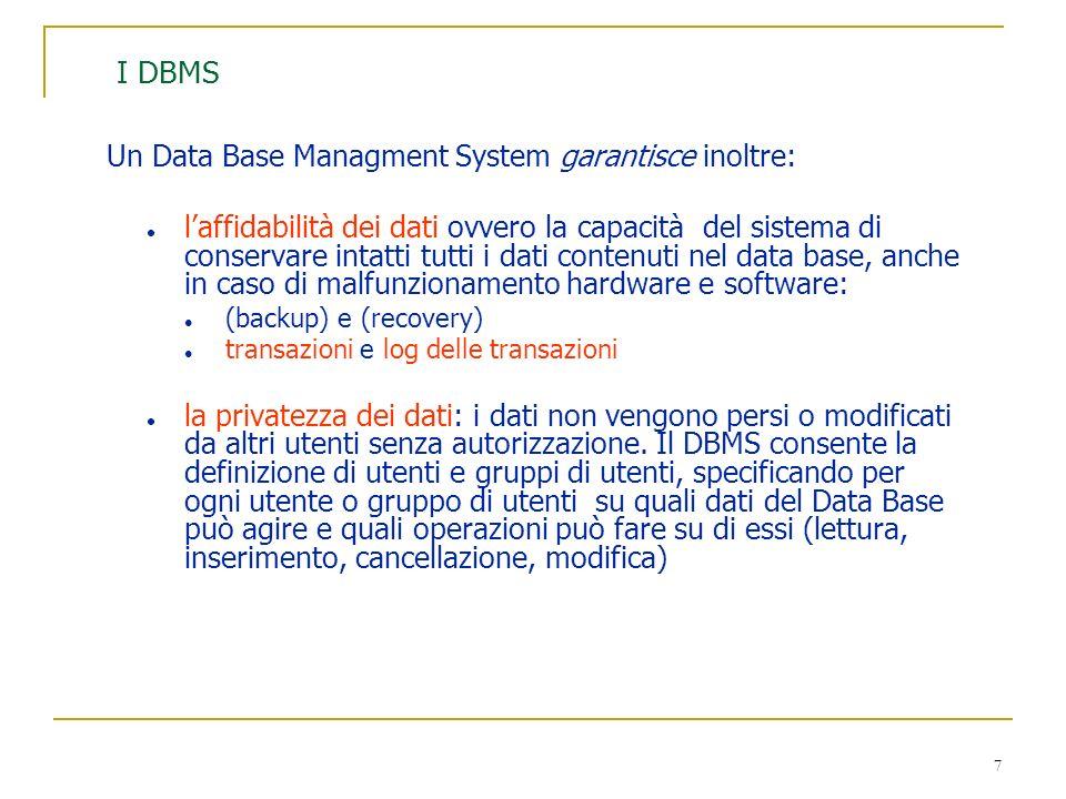 I DBMS Un Data Base Managment System garantisce inoltre: