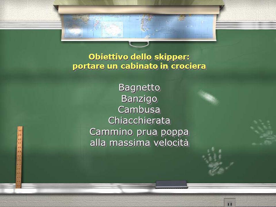 Obiettivo dello skipper: portare un cabinato in crociera Bagnetto Banzigo Cambusa Chiacchierata Cammino prua poppa alla massima velocità