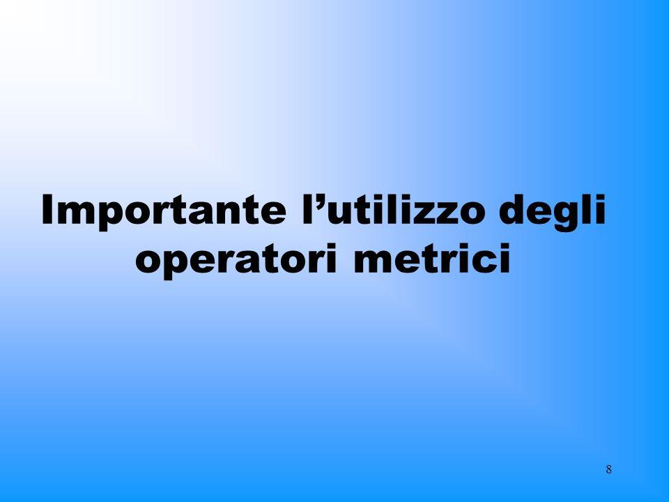 Importante l'utilizzo degli operatori metrici