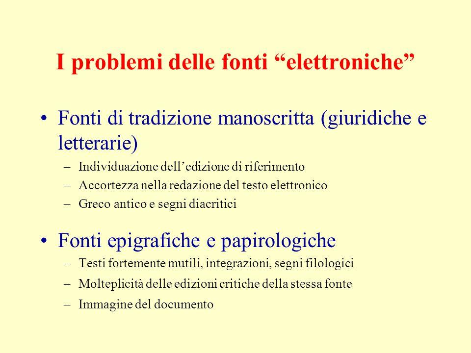 I problemi delle fonti elettroniche
