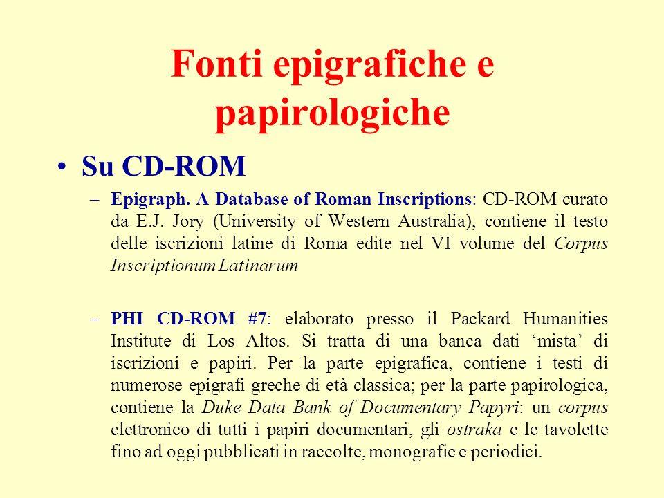 Fonti epigrafiche e papirologiche