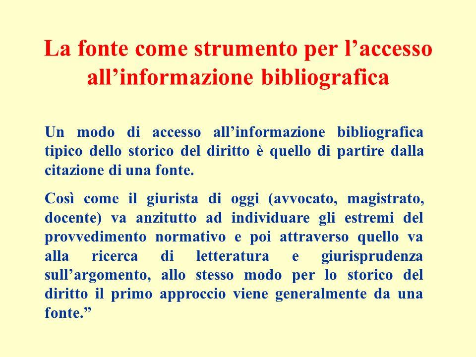 La fonte come strumento per l'accesso all'informazione bibliografica