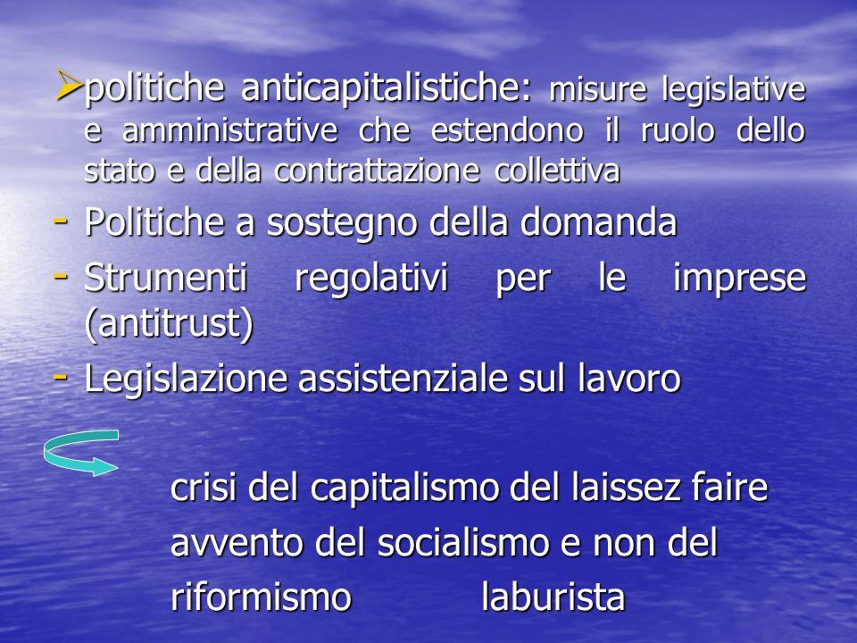 politiche anticapitalistiche: misure legislative e amministrative che estendono il ruolo dello stato e della contrattazione collettiva