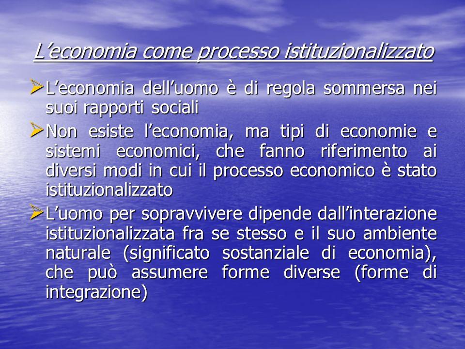 L'economia come processo istituzionalizzato