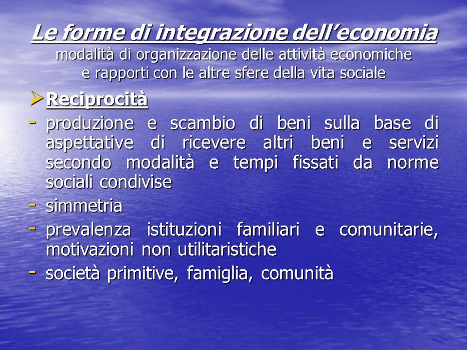 Le forme di integrazione dell'economia modalità di organizzazione delle attività economiche e rapporti con le altre sfere della vita sociale