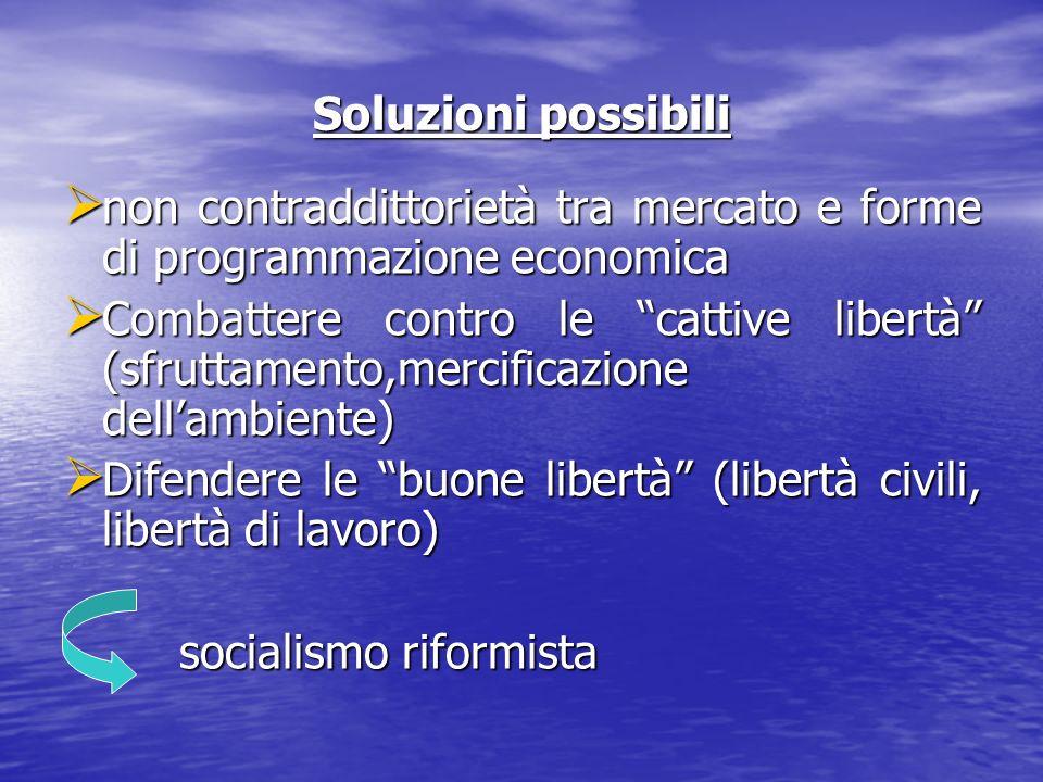 Soluzioni possibili non contraddittorietà tra mercato e forme di programmazione economica.