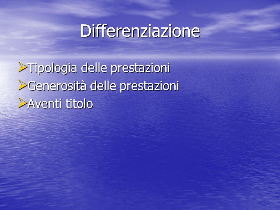 Differenziazione Tipologia delle prestazioni