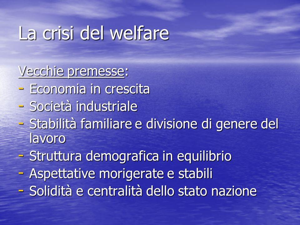 La crisi del welfare Vecchie premesse: Economia in crescita
