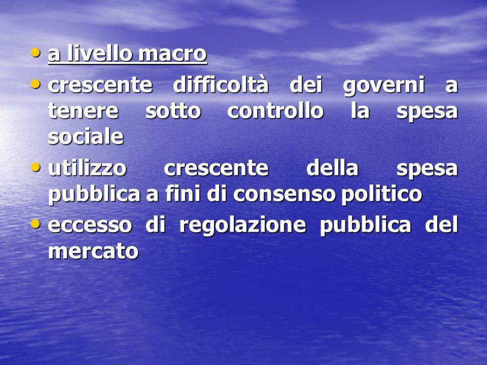 a livello macro crescente difficoltà dei governi a tenere sotto controllo la spesa sociale.