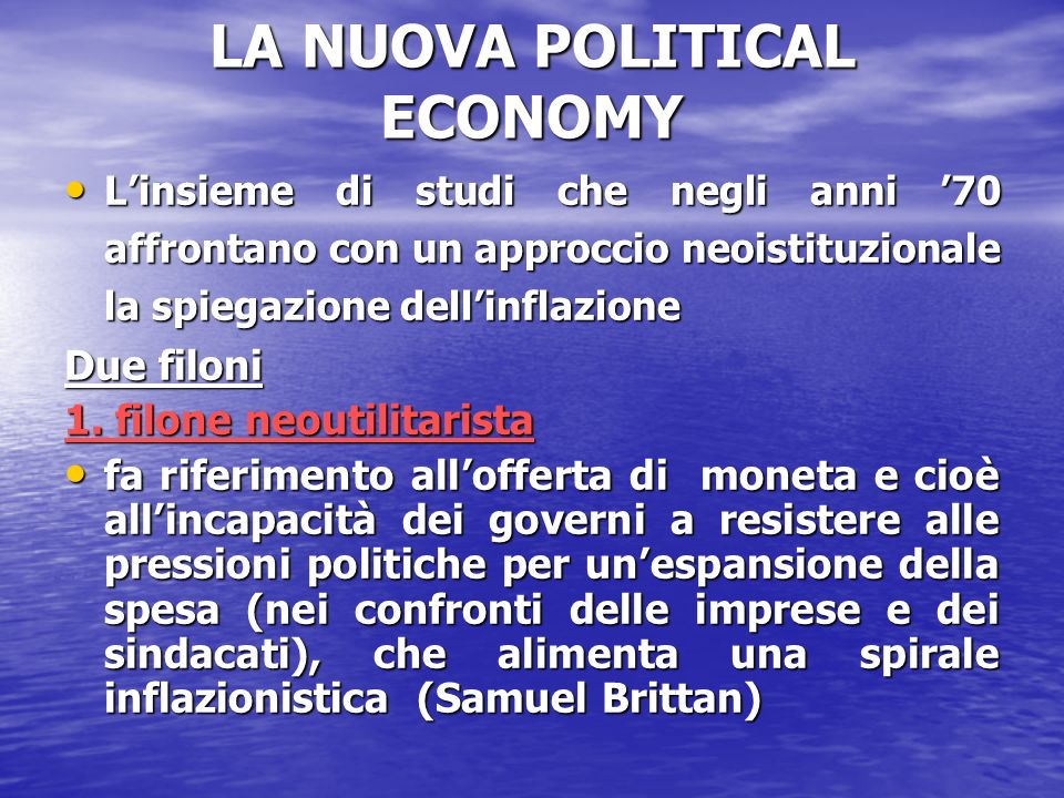 LA NUOVA POLITICAL ECONOMY
