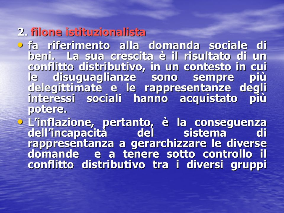 2. filone istituzionalista