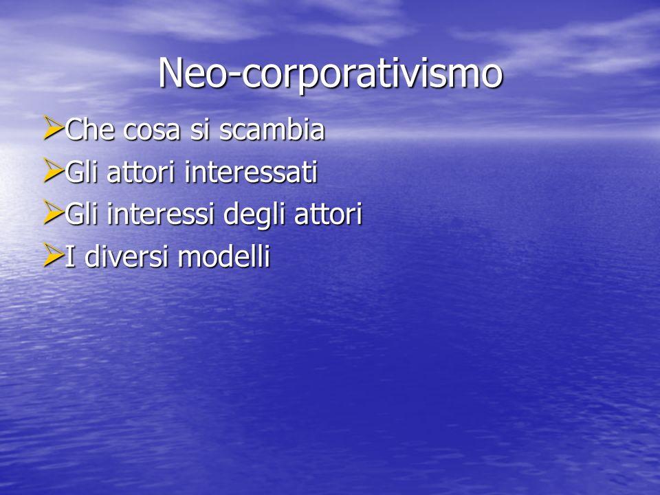 Neo-corporativismo Che cosa si scambia Gli attori interessati