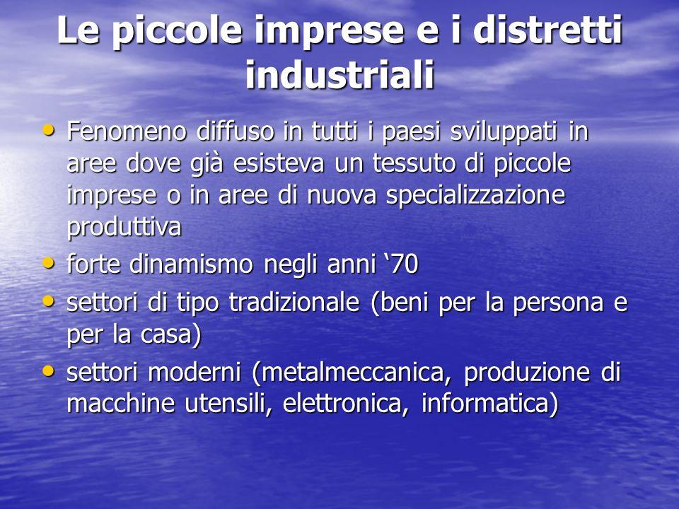 Le piccole imprese e i distretti industriali