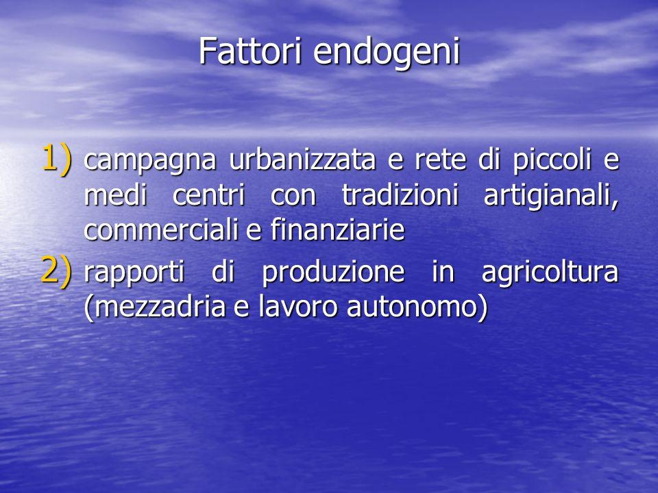 Fattori endogeni campagna urbanizzata e rete di piccoli e medi centri con tradizioni artigianali, commerciali e finanziarie.