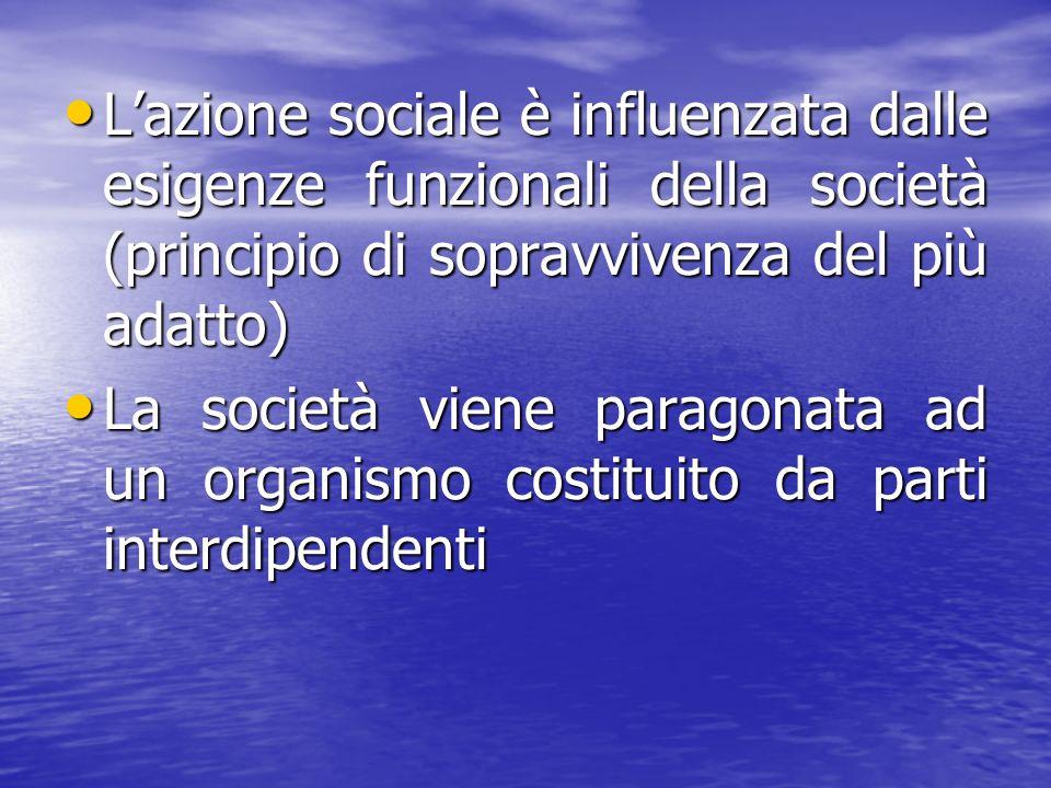 L'azione sociale è influenzata dalle esigenze funzionali della società (principio di sopravvivenza del più adatto)