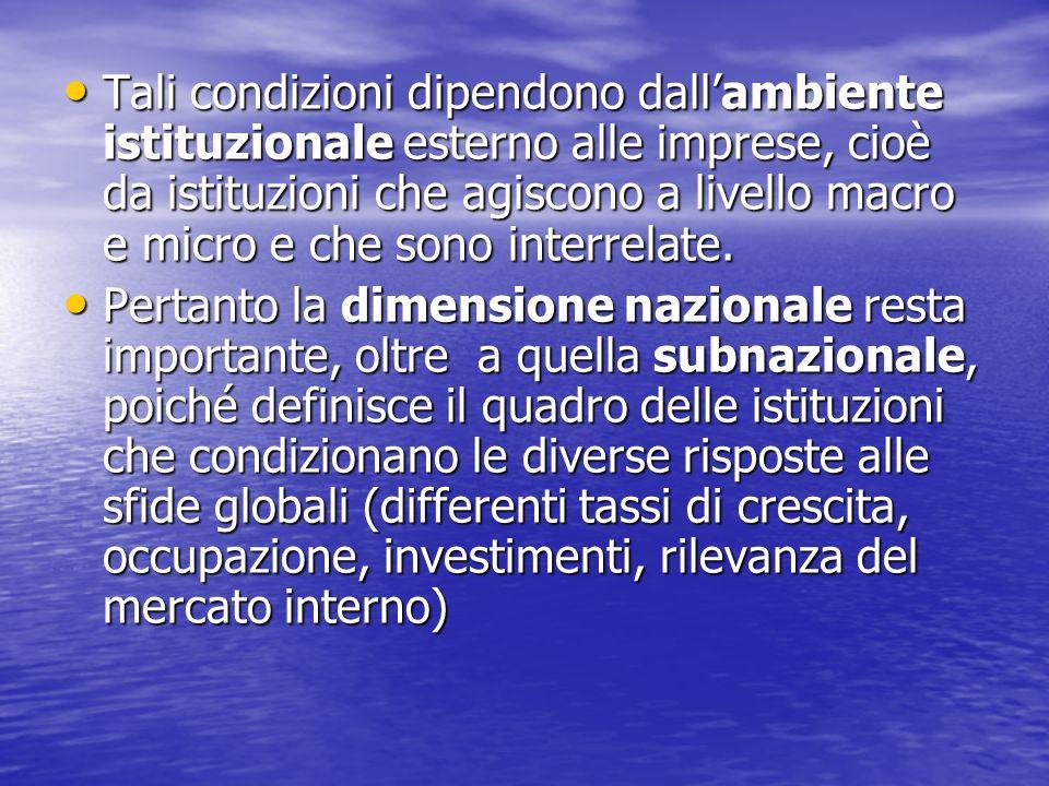 Tali condizioni dipendono dall'ambiente istituzionale esterno alle imprese, cioè da istituzioni che agiscono a livello macro e micro e che sono interrelate.