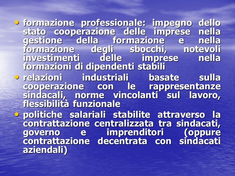 formazione professionale: impegno dello stato cooperazione delle imprese nella gestione della formazione e nella formazione degli sbocchi, notevoli investimenti delle imprese nella formazioni di dipendenti stabili