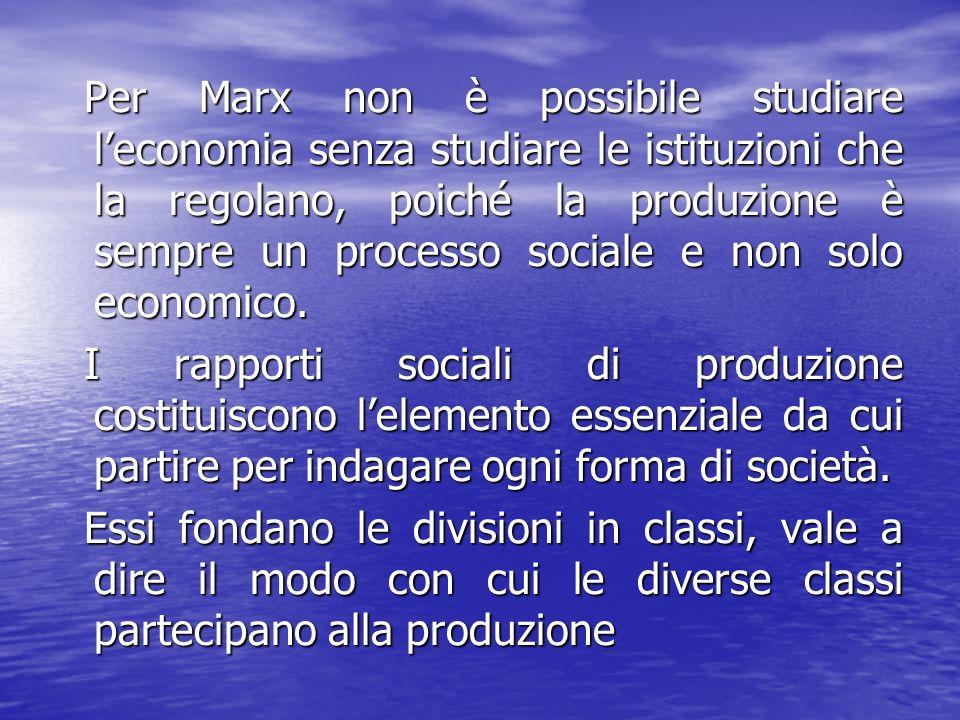Per Marx non è possibile studiare l'economia senza studiare le istituzioni che la regolano, poiché la produzione è sempre un processo sociale e non solo economico.