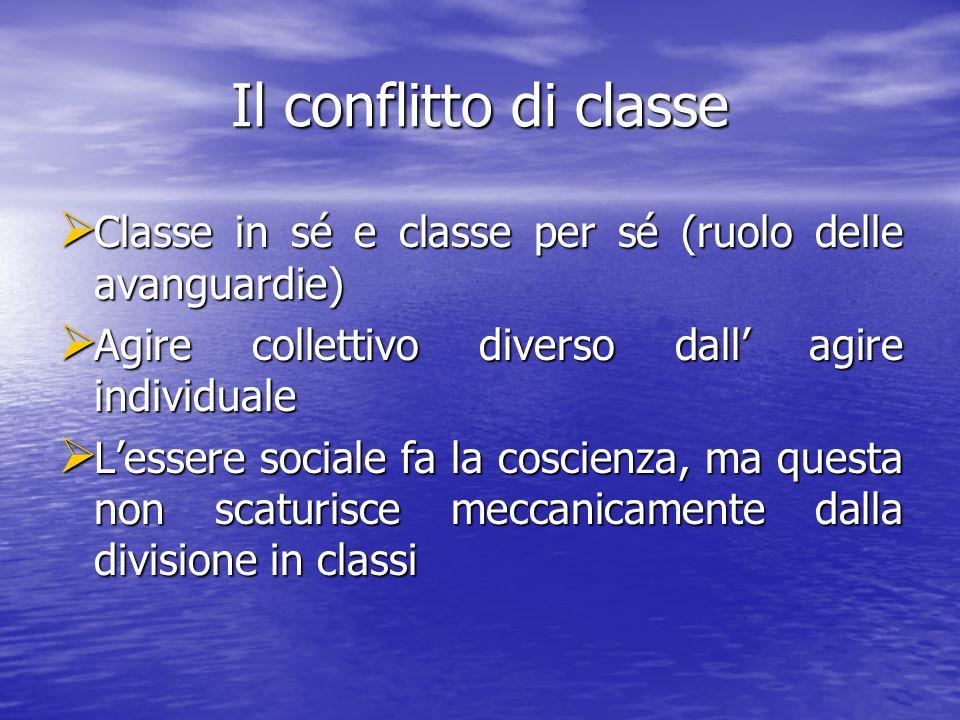 Il conflitto di classe Classe in sé e classe per sé (ruolo delle avanguardie) Agire collettivo diverso dall' agire individuale.