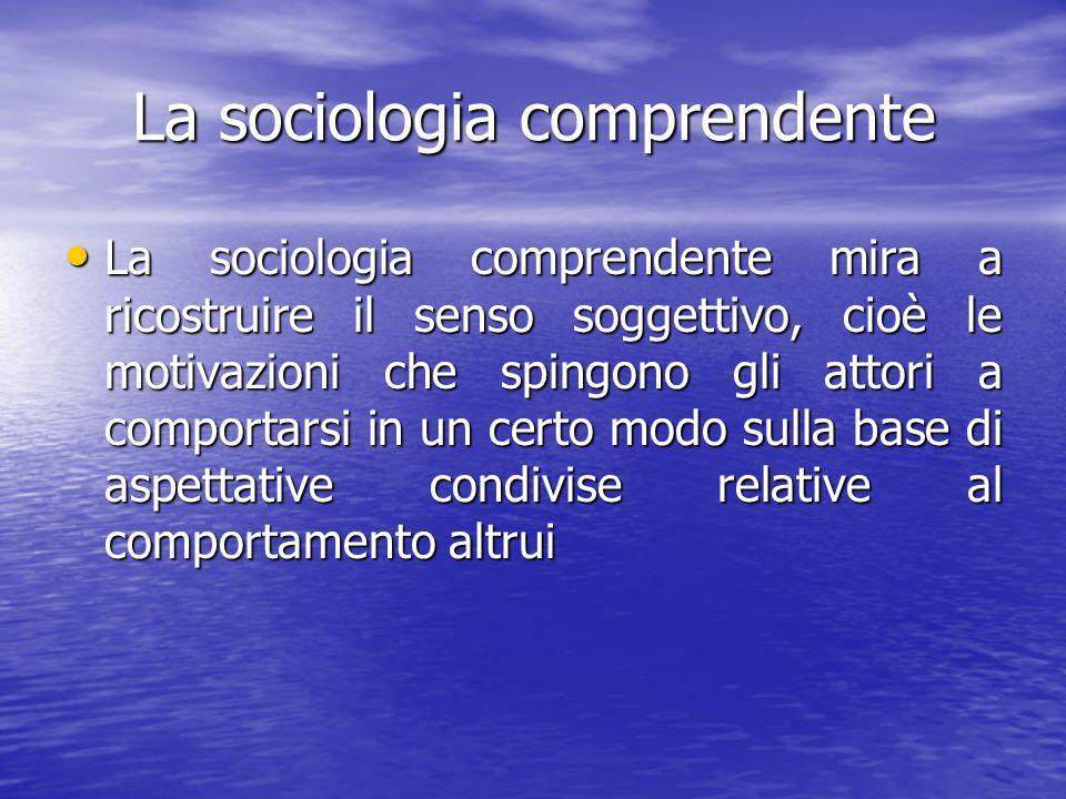 La sociologia comprendente