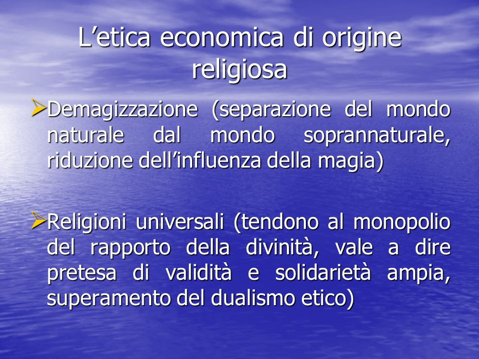 L'etica economica di origine religiosa