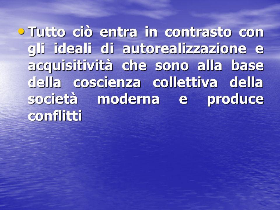 Tutto ciò entra in contrasto con gli ideali di autorealizzazione e acquisitività che sono alla base della coscienza collettiva della società moderna e produce conflitti