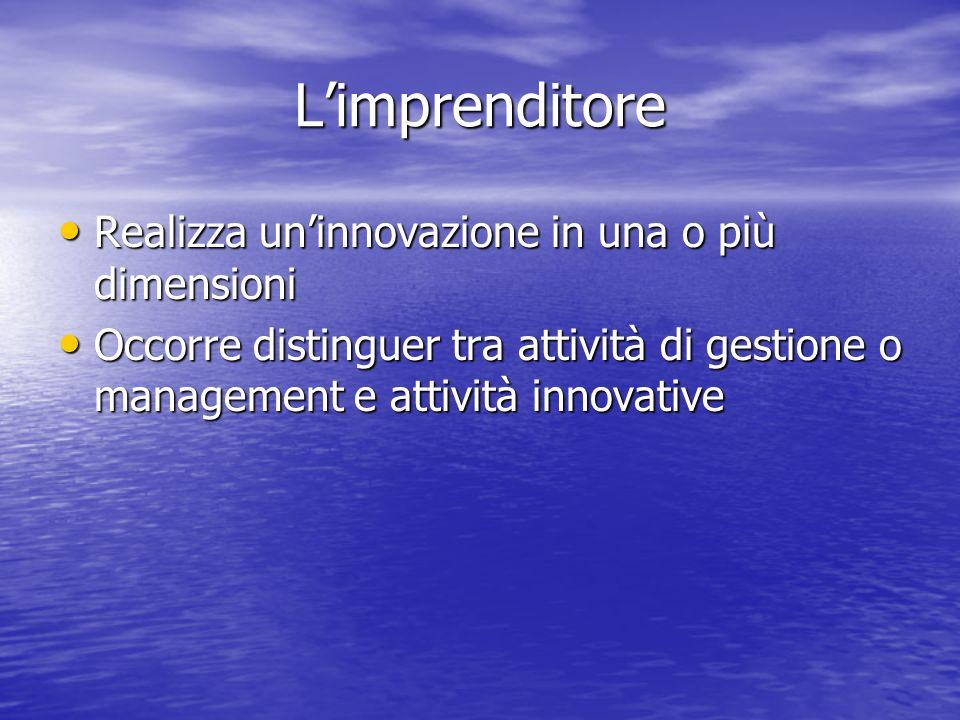 L'imprenditore Realizza un'innovazione in una o più dimensioni