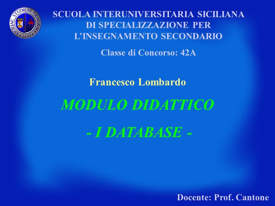MODULO DIDATTICO - I DATABASE -