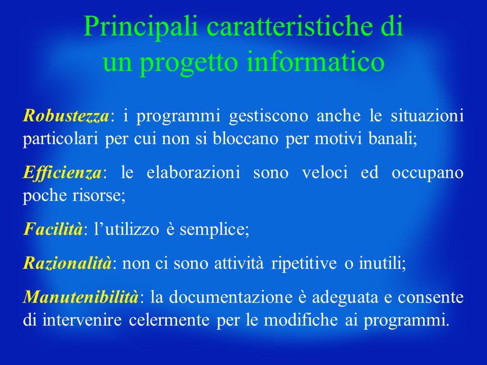 Principali caratteristiche di un progetto informatico