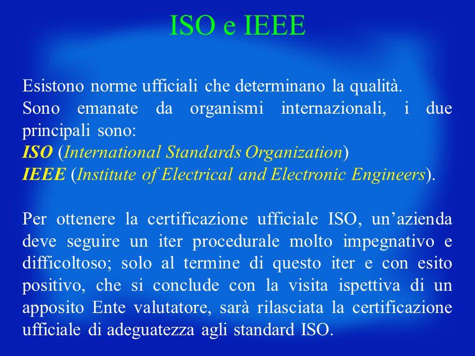 ISO e IEEE Esistono norme ufficiali che determinano la qualità.