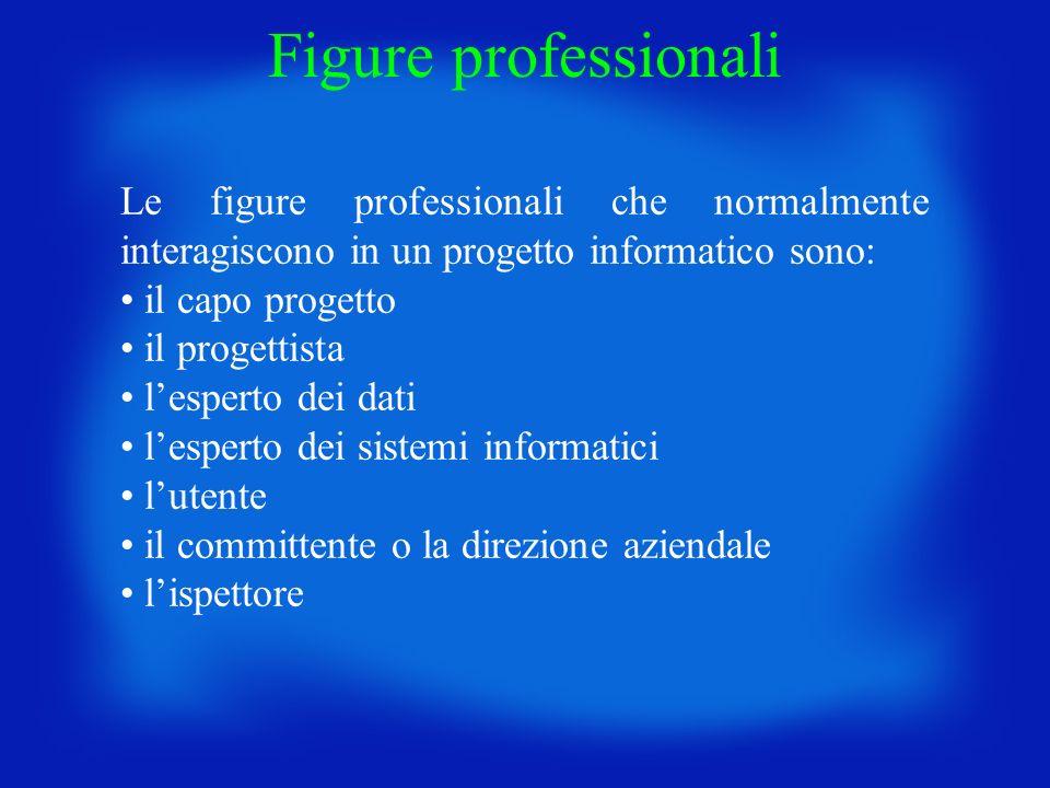 Figure professionali Le figure professionali che normalmente interagiscono in un progetto informatico sono: