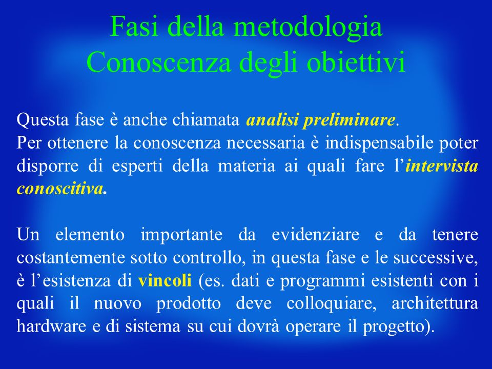 Fasi della metodologia Conoscenza degli obiettivi
