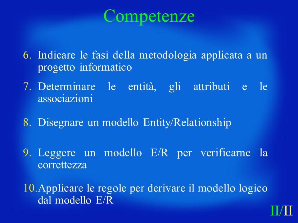 Competenze 6. Indicare le fasi della metodologia applicata a un progetto informatico. 7. Determinare le entità, gli attributi e le associazioni.
