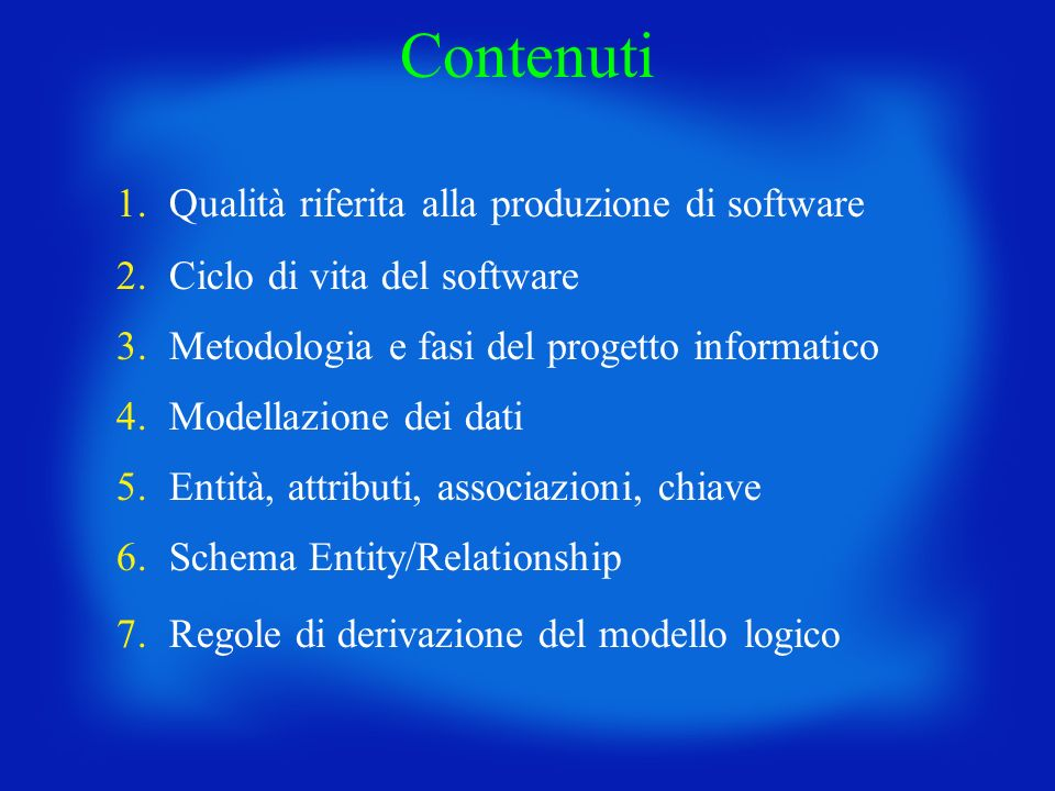 Contenuti 1. Qualità riferita alla produzione di software